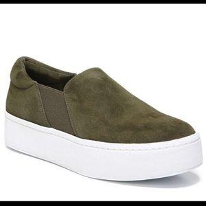 Vince suede olive green platform sneakers